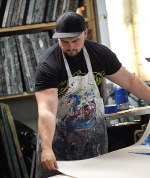 Geordan Moore of Quarrelsome Yeit working in his studio