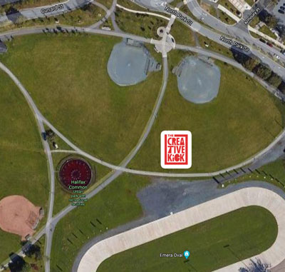 Aerial map of the Halifax Common showing Kick logo for meetup location