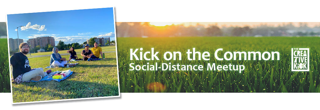 Morning due on grass with the words 'Kick on the Common: Social-distancing meetup' text over it